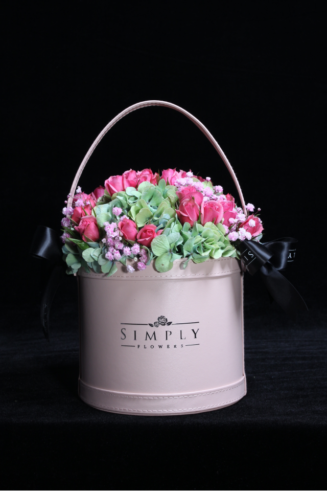 Baby Roses with Hygrangeas Flower Basket