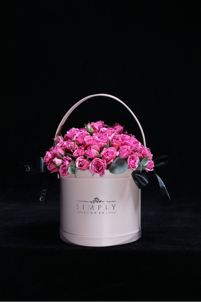 Baby Pink Roses Basket