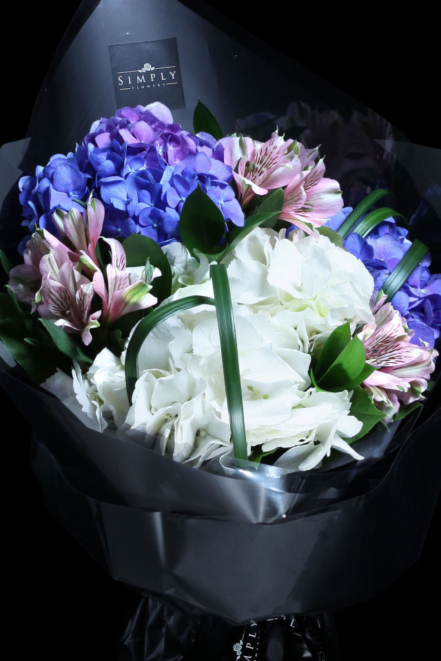 Purplish Blue Hydrangeas Bouquet