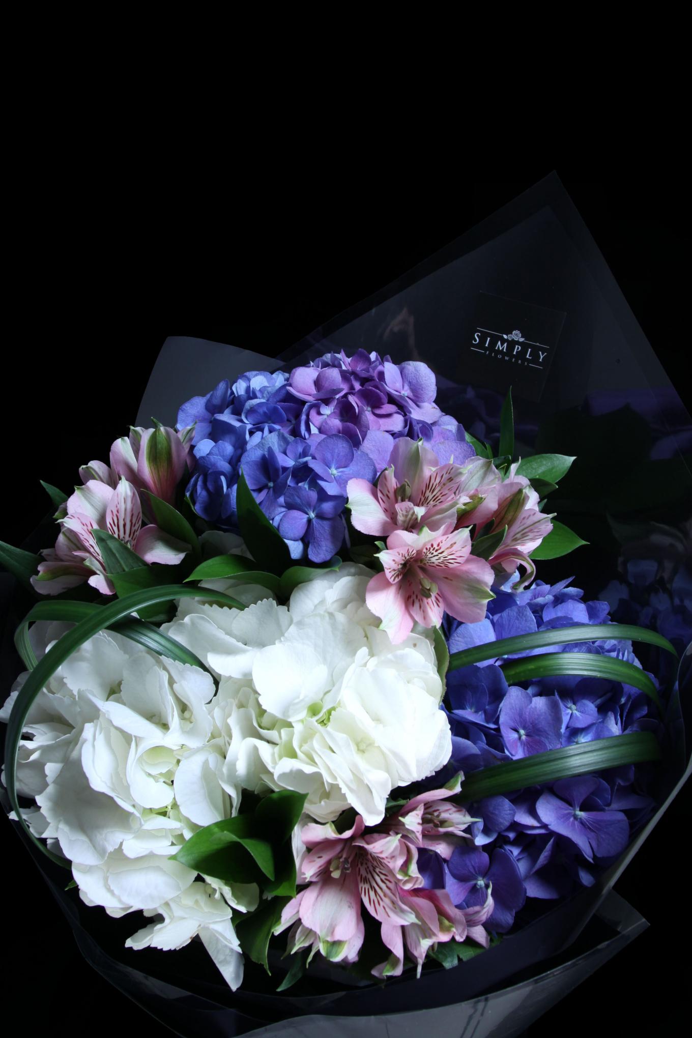 Purplish Blue Hydrangeas Bouquet