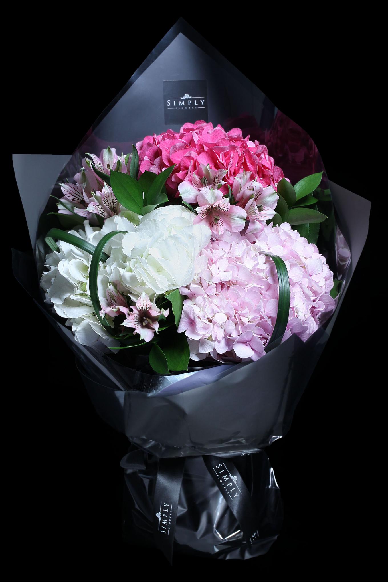 Peach Pink Hydrangeas Bouquet